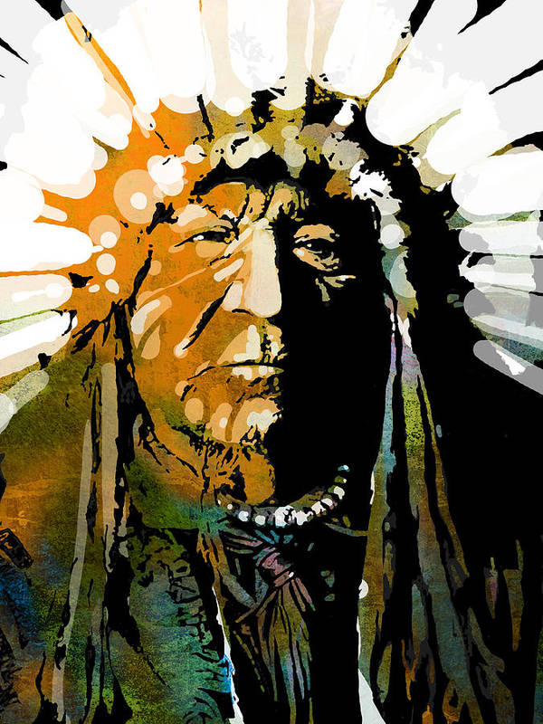 Native American Art Print featuring the painting Sitting Bear by Paul Sachtleben