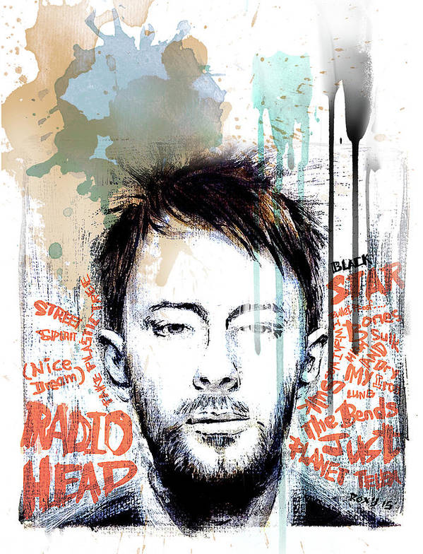 Radiohead Art Print featuring the painting Thom Yorke by Art Popop