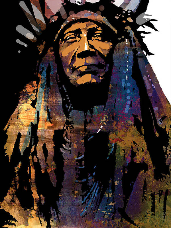 Native American Art Print featuring the painting Two Moons by Paul Sachtleben