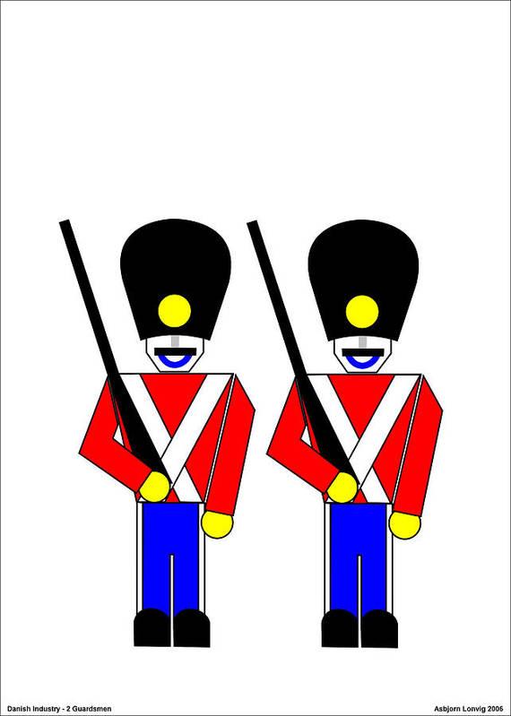 Art Print featuring the digital art 2 Guardsmen by Asbjorn Lonvig