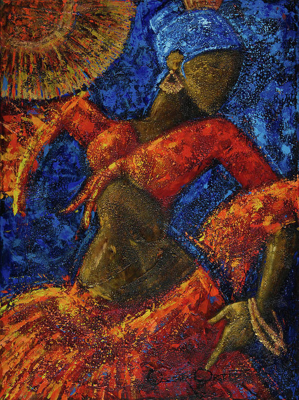 Dancer Art Print featuring the painting Passion by Oscar Ortiz