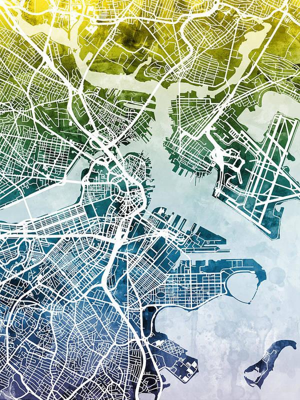 Street Map Art Print featuring the digital art Boston Massachusetts Street Map by Michael Tompsett