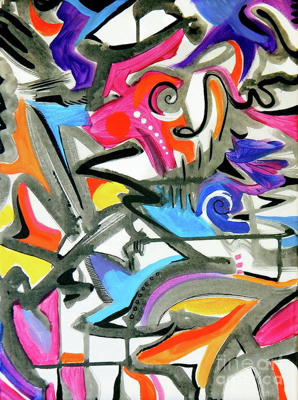 This Feels Like Music To Me .high Energy Vibrant Jazz Maybe .bright Colors Mix With Pastels .gray And Blacklines Add Definition .they Seem To Offer Rythm Art Print featuring the painting A better mousetrap by Priscilla Batzell Expressionist Art Studio Gallery