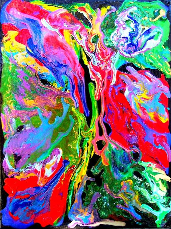 Abstract Art Print featuring the painting Abstract - Rebirth Series - Eva's Dream by Dina Sierra