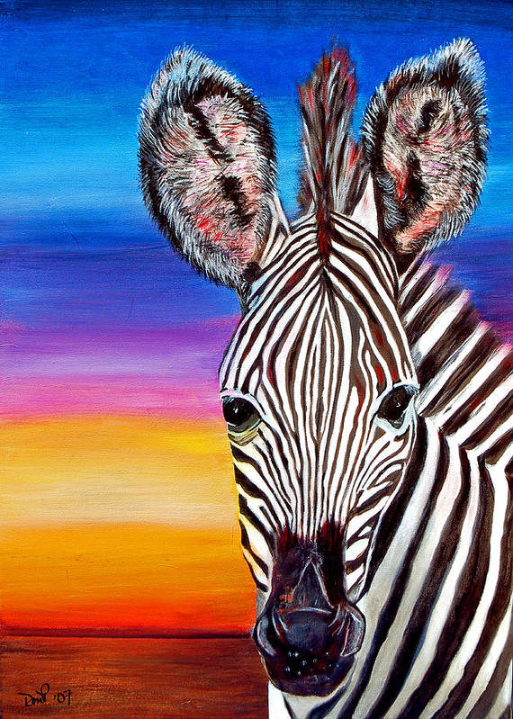 Zebra Art Print featuring the painting African Zebra Aura by Donna Proctor