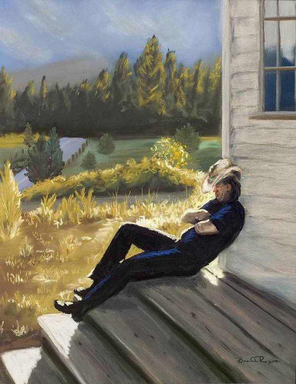 Cowboy Art Print featuring the painting Afternoon Tranquility by Brenda Williams