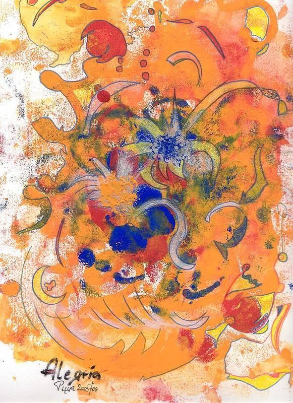 Alegria Art Print featuring the mixed media Alegria by Michael Puya