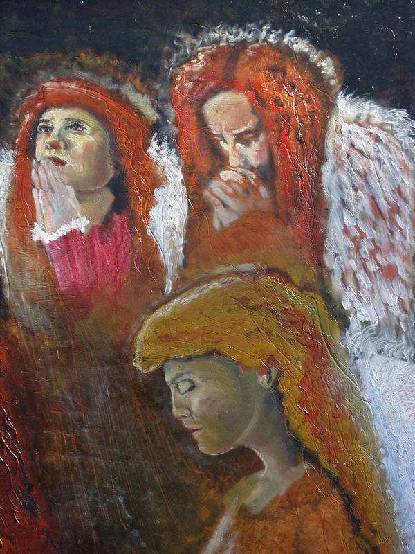 Angels Art Print featuring the painting Angels by J Bauer