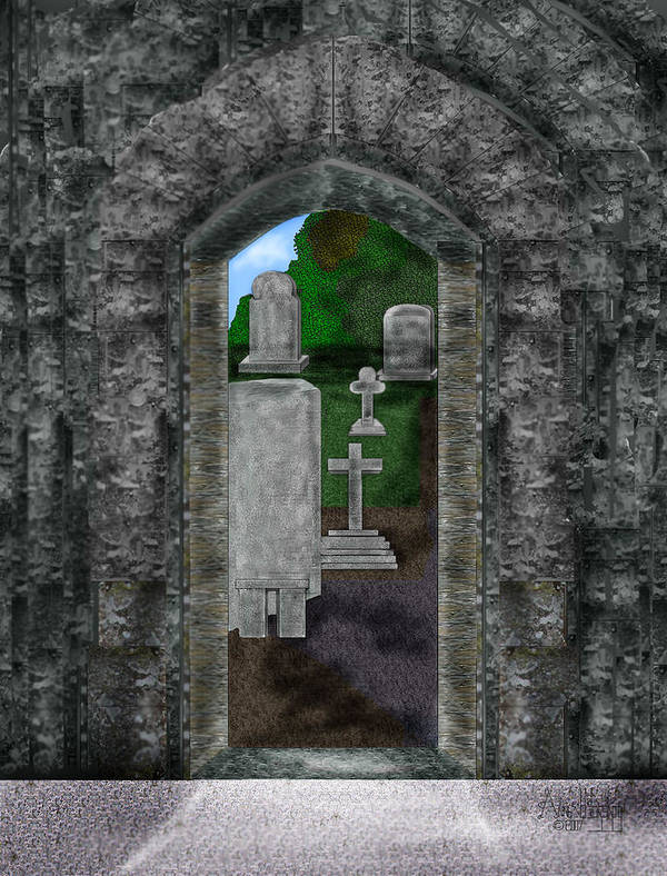 Digital Landscape Art Print featuring the painting Arches and Cross in Ireland by Anne Norskog