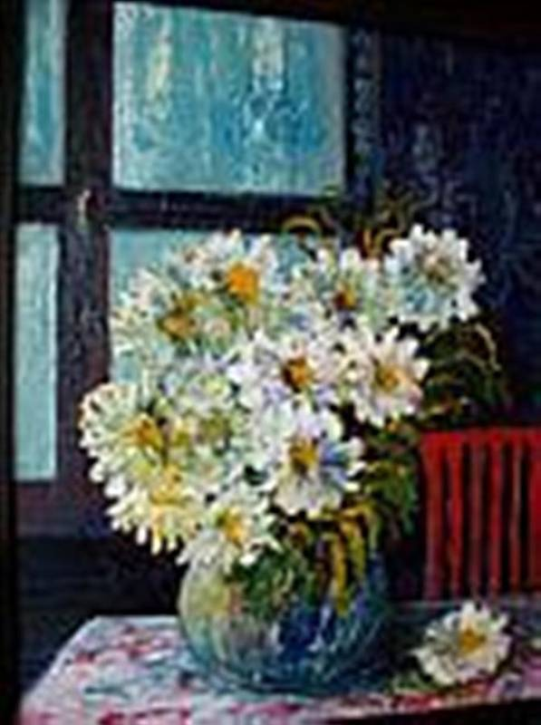 By The Window Art Print featuring the painting At Home by Carol P Kingsley