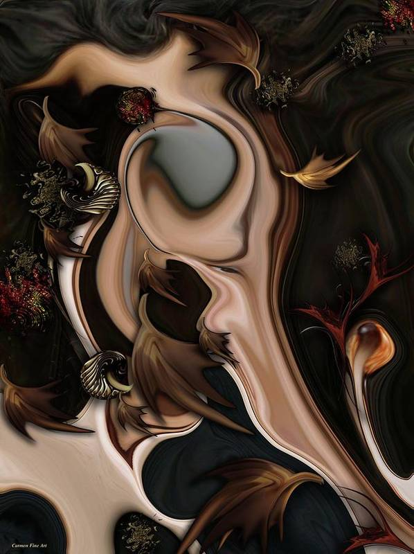 Autumnal Art Print featuring the digital art Autumnal Material by Carmen Fine Art
