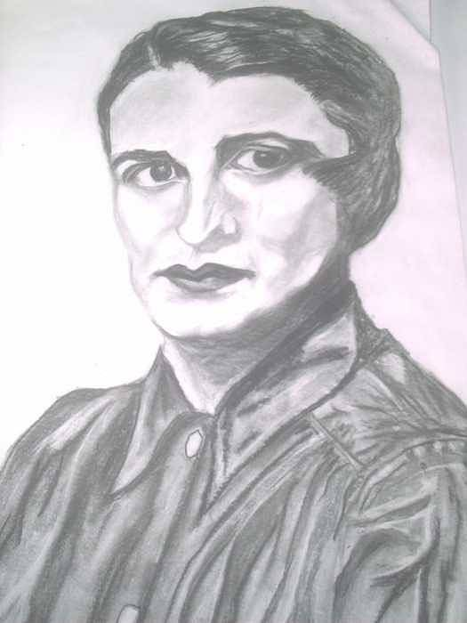 Ayn Rand Art Print featuring the painting Ayn Rand by Nancy Caccioppo