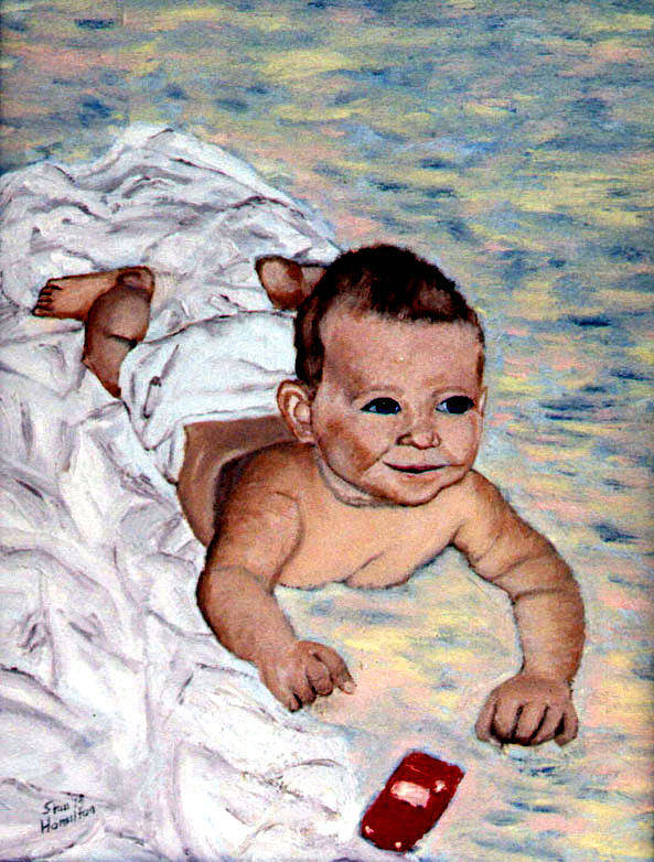 Baby Art Print featuring the painting Baby in Heaven by Stan Hamilton
