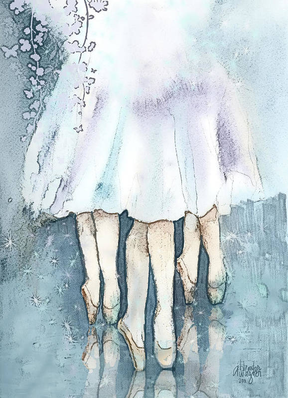 Ballerina Art Print featuring the mixed media Ballerinas by Suzanne Blender