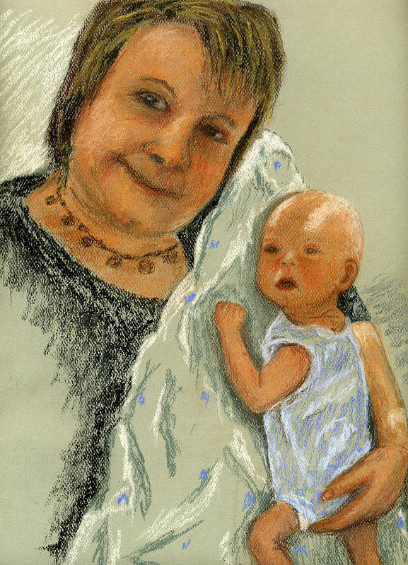 Grandmother Art Print featuring the painting Barb And Jacob by Marina Garrison