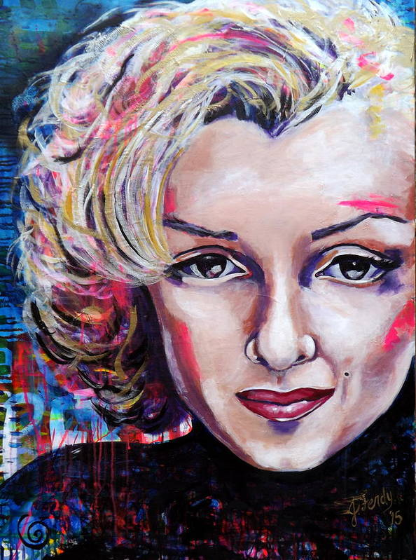 Marilyn Monroe Art Print featuring the painting Beauty and Perfection by Goddess Rockstar