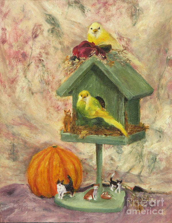 Birds Art Print featuring the painting Birds and Cats by Chris Neil Smith