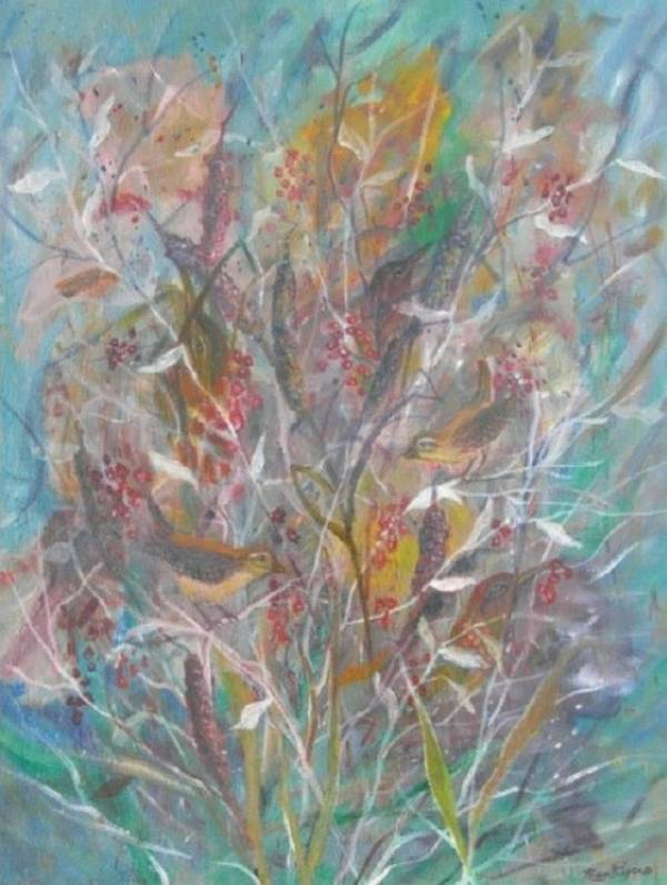 Birds Art Print featuring the painting Birds In A Bush by Ben Kiger