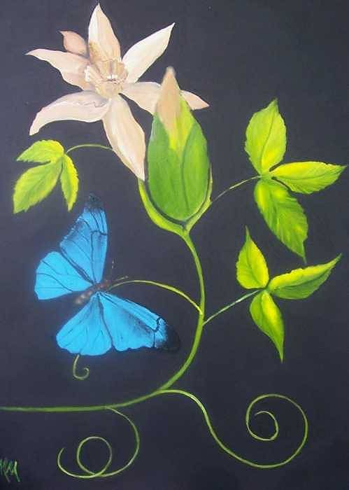 Butterfly Art Print featuring the painting Blue Butterfly by Martha Mullins