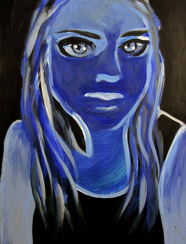 Girl Art Print featuring the painting Blue by Ingrid Torjesen