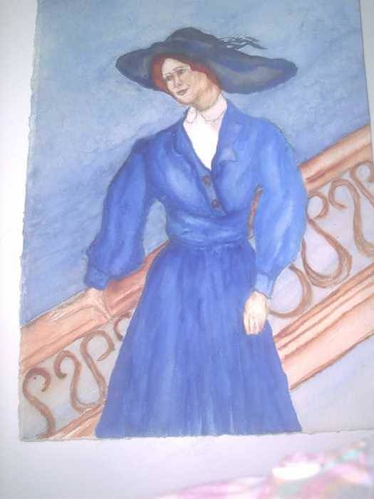 Image Caught My Imagination Art Print featuring the painting Blue Lady by Nancy Caccioppo