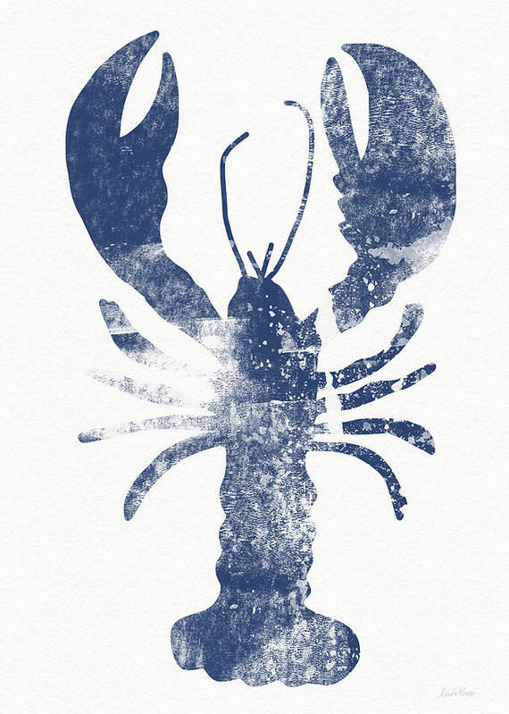 Cape Cod Art Print featuring the painting Blue Lobster- Art by Linda Woods by Linda Woods