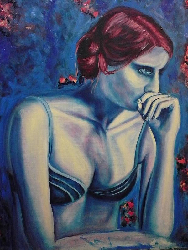 Blue Art Print featuring the painting Blue Woman Thinking by Ericka Herazo