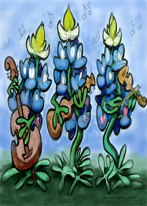 Bluebonnet Art Print featuring the digital art Blues Bonnets by Kevin Middleton