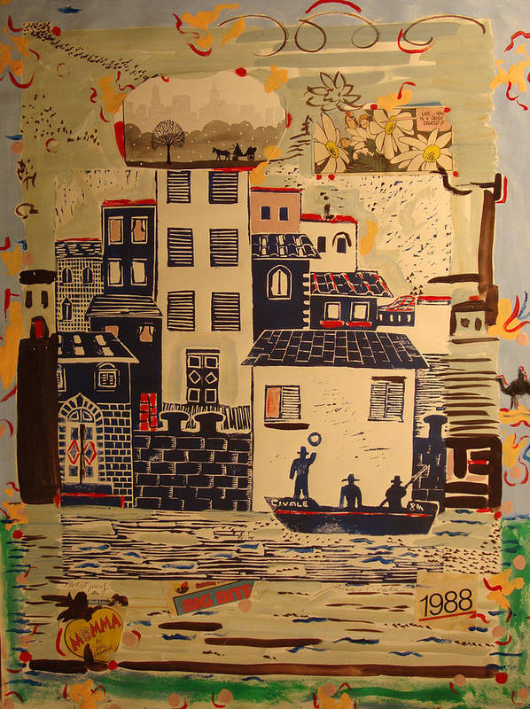 Art Print featuring the painting Boat with fishermen and 1988 by Biagio Civale