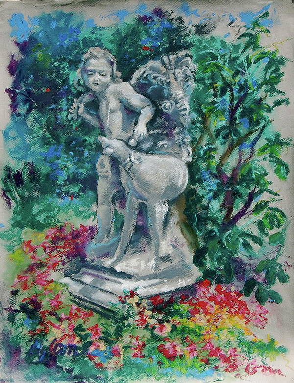 Sculpture Art Print featuring the painting Boy and Dog by BJ Lane