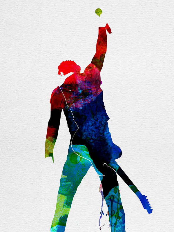 Bruce Springsteen Art Print featuring the painting Bruce Watercolor by Naxart Studio