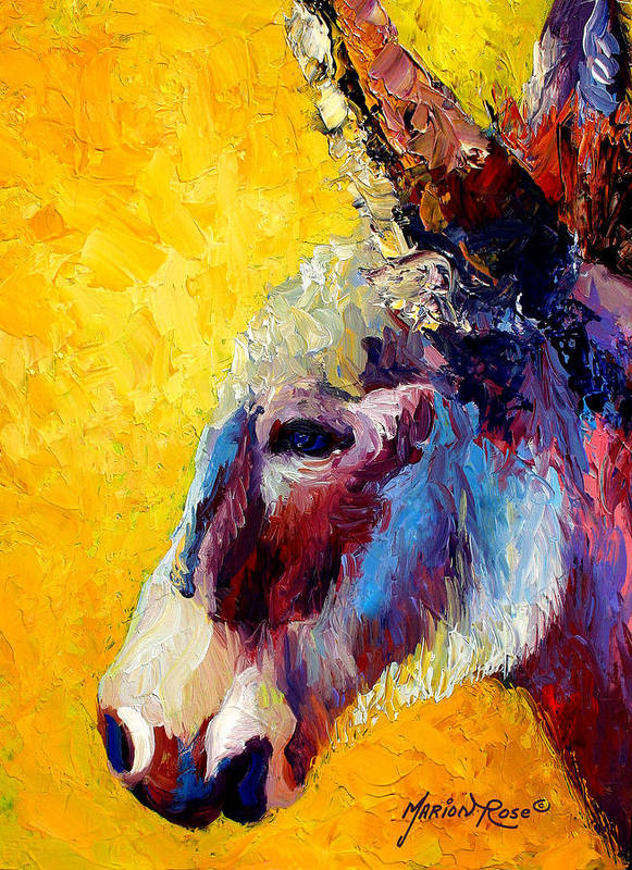 Western Art Print featuring the painting Burro Study II by Marion Rose