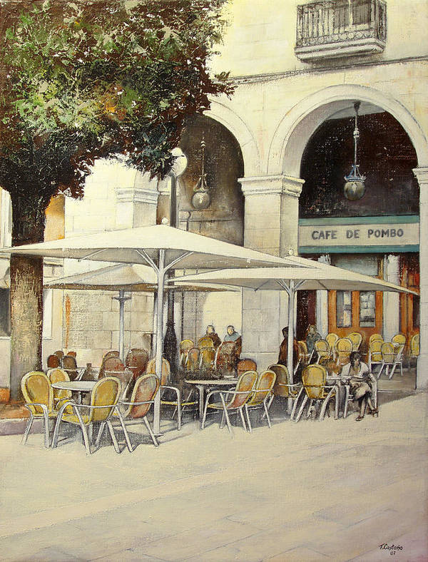 Cafe Art Print featuring the painting Cafe de Pombo-Santander by Tomas Castano