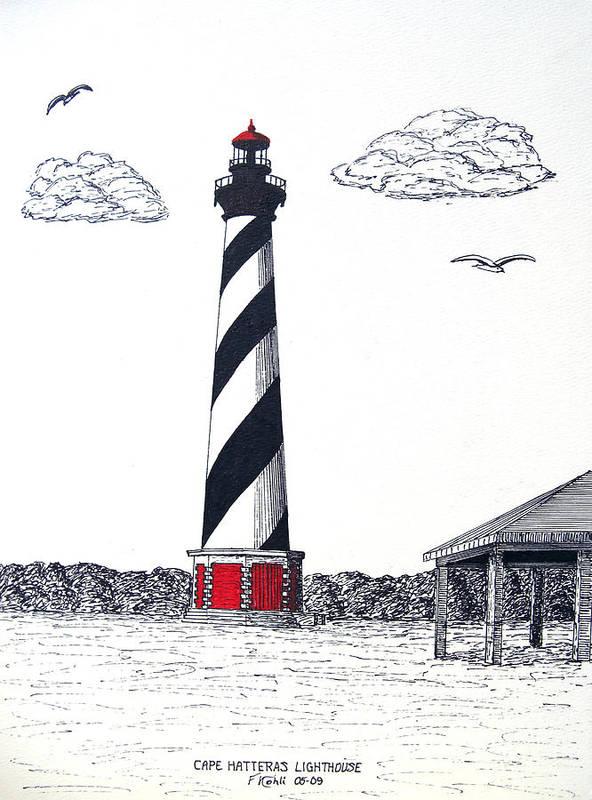 Lighthouse Drawings Art Print featuring the drawing Cape Hatteras Lighthouse Drawing by Frederic Kohli