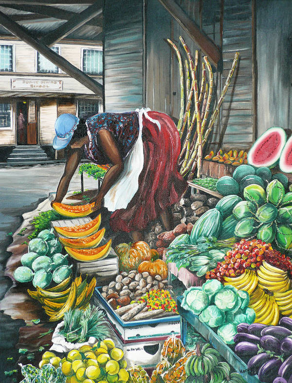 Caribbean Painting Market Vendor Painting Caribbean Market Painting Fruit Painting Vegetable Painting Woman Painting Tropical Painting City Scape Trinidad And Tobago Painting Typical Roadside Market Vendor In Trinidad Art Print featuring the painting Caribbean Market Day by Karin Dawn Kelshall- Best