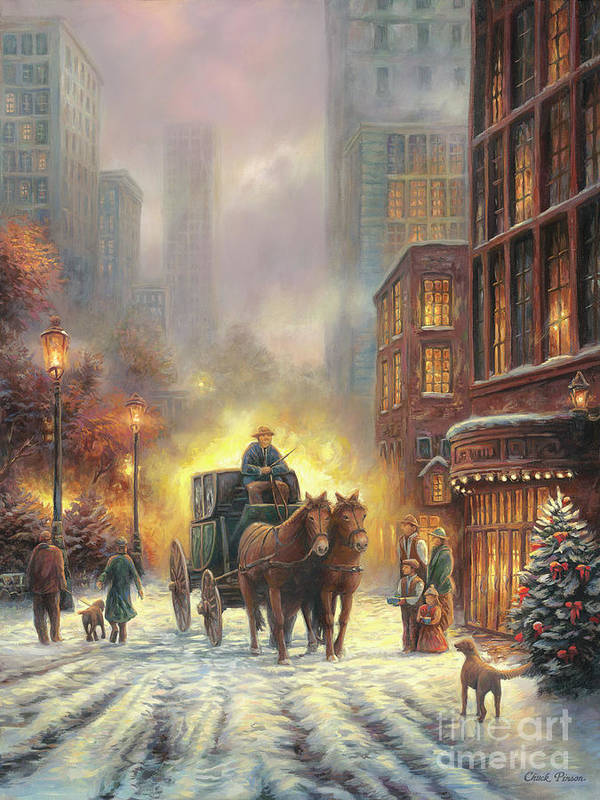 City Snow Scene Art Print featuring the painting Carriage Ride by Chuck Pinson