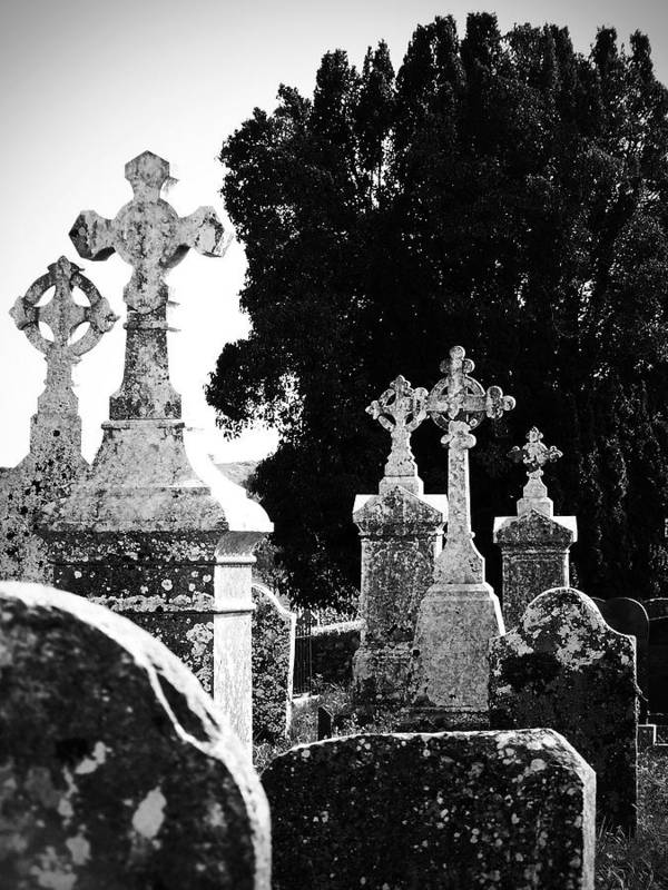 Celtic Art Print featuring the photograph Celtic Crosses At Fuerty Cemetery Roscommon Ireland by Teresa Mucha
