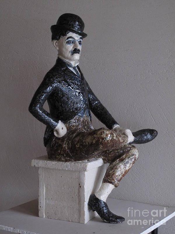 Charlie Chaplin Art Print featuring the sculpture Charlie Chaplin by Raimonda Jatkeviciute-Kasparaviciene