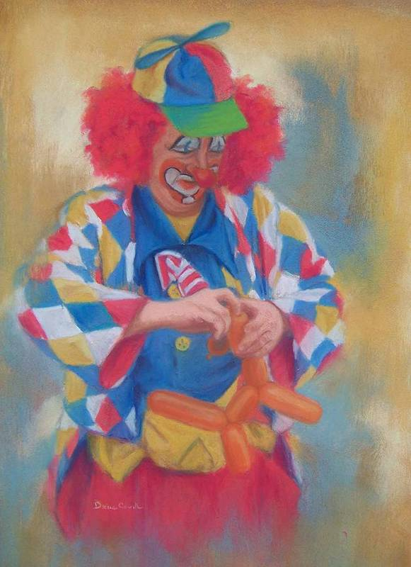 Clown Art Print featuring the painting Clown Making Balloon Animals by Diane Caudle