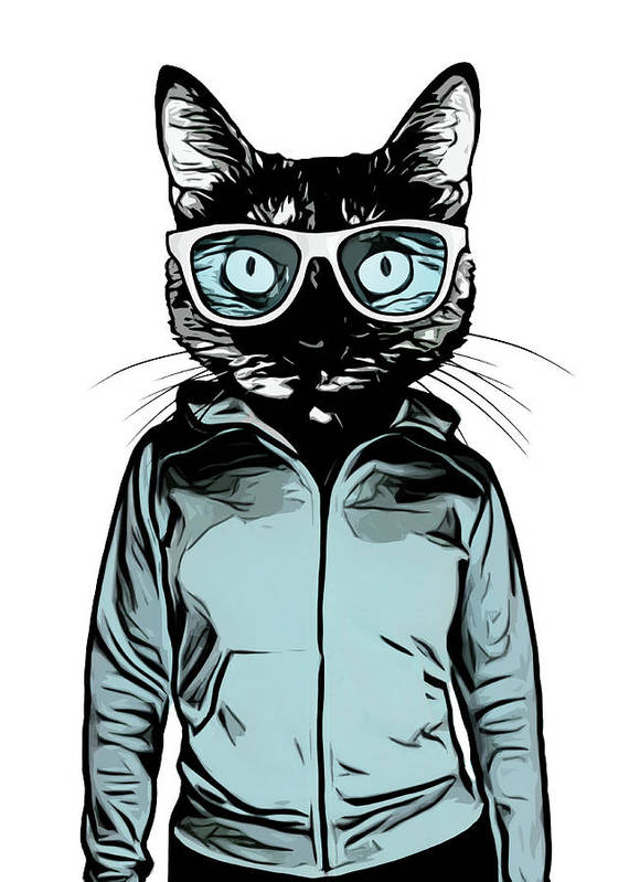 Cat Art Print featuring the mixed media Cool Cat by Nicklas Gustafsson