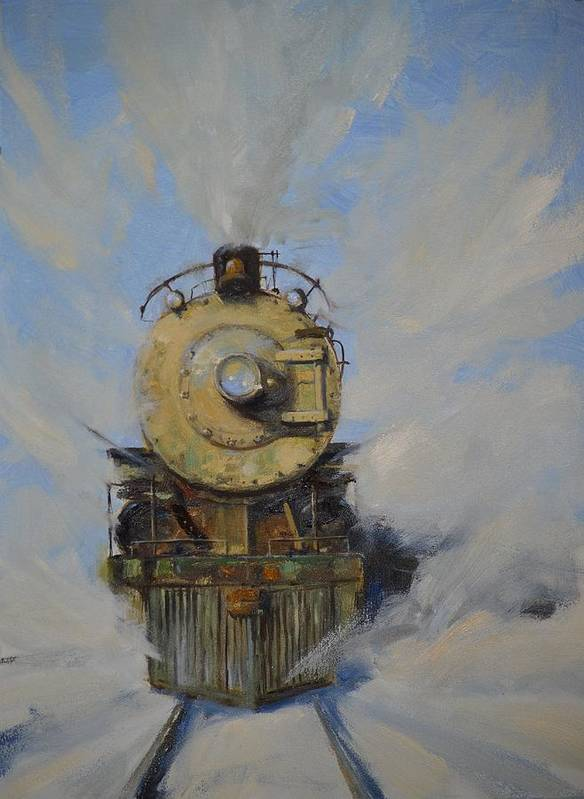 Steam Locomotive Art Print featuring the painting Cool Running by Greg Clibon