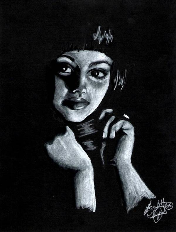 Portrait Art Print featuring the drawing Curiosity by Scarlett Royal