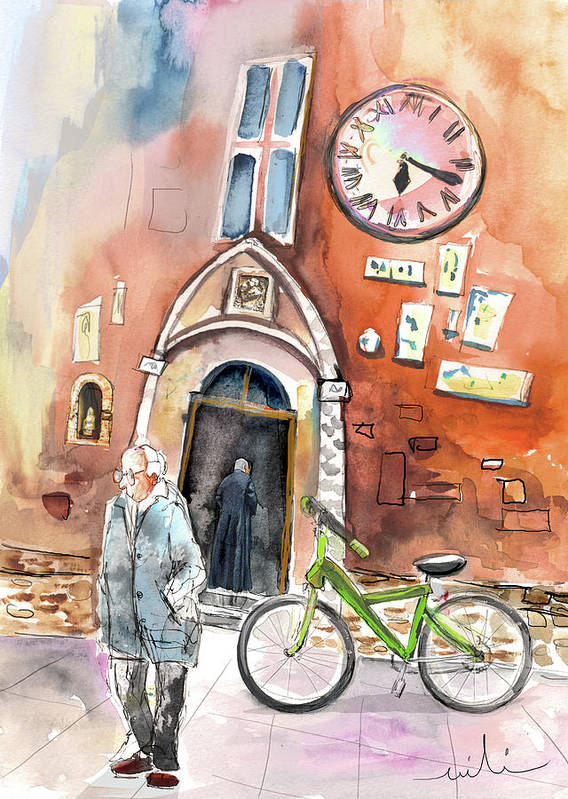 Italy Art Print featuring the painting Cycling In Italy 03 by Miki De Goodaboom