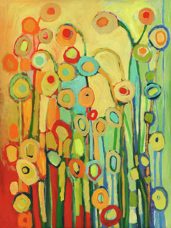 Floral Art Print featuring the painting Dance of the Flower Pods by Jennifer Lommers