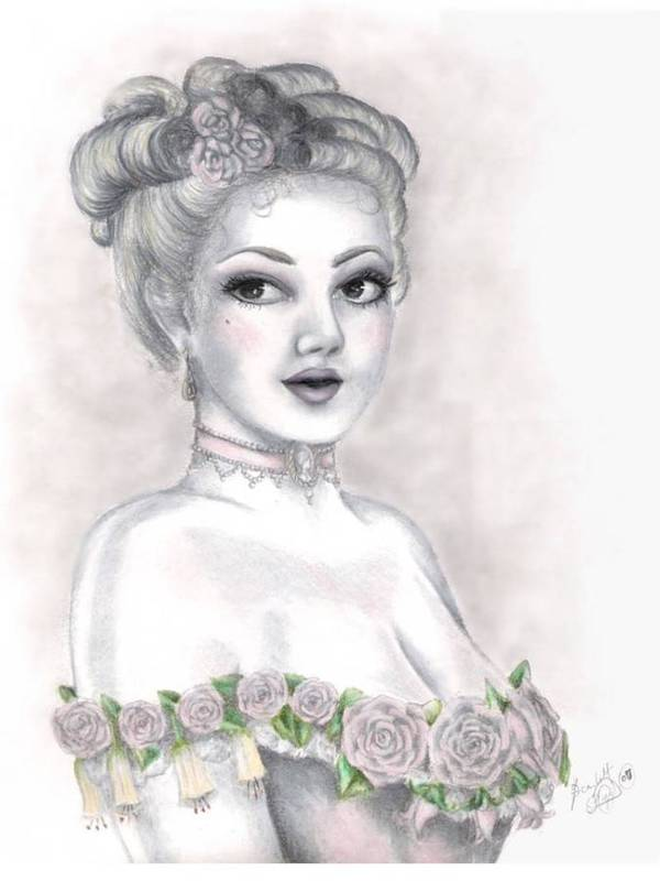 Portrait Art Print featuring the drawing Delicate Beauty by Scarlett Royal