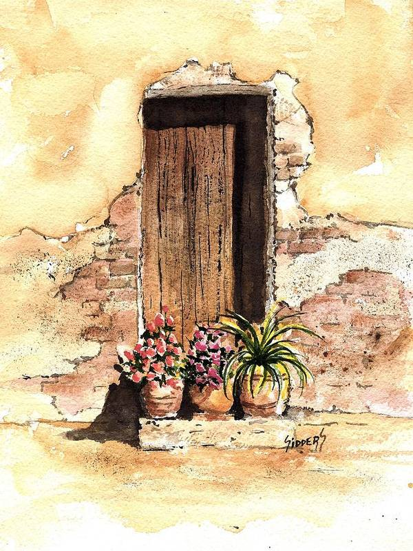 Door Art Print featuring the painting Door With Flowers by Sam Sidders
