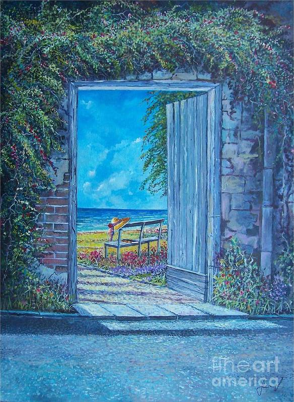 Original Painting Art Print featuring the painting Doorway To ... by Sinisa Saratlic