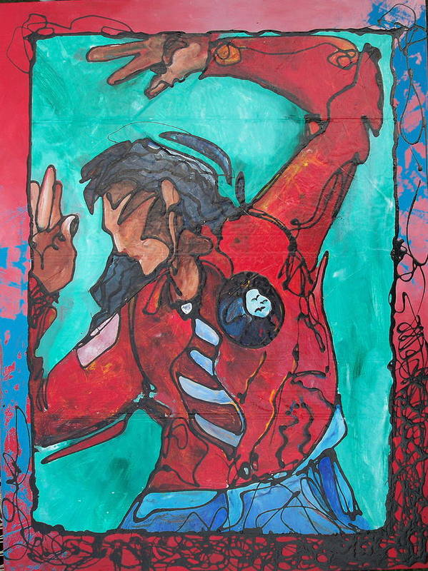 Native American Art Print featuring the painting Earthwrath by Ernie Scott- Dust Rising Studios