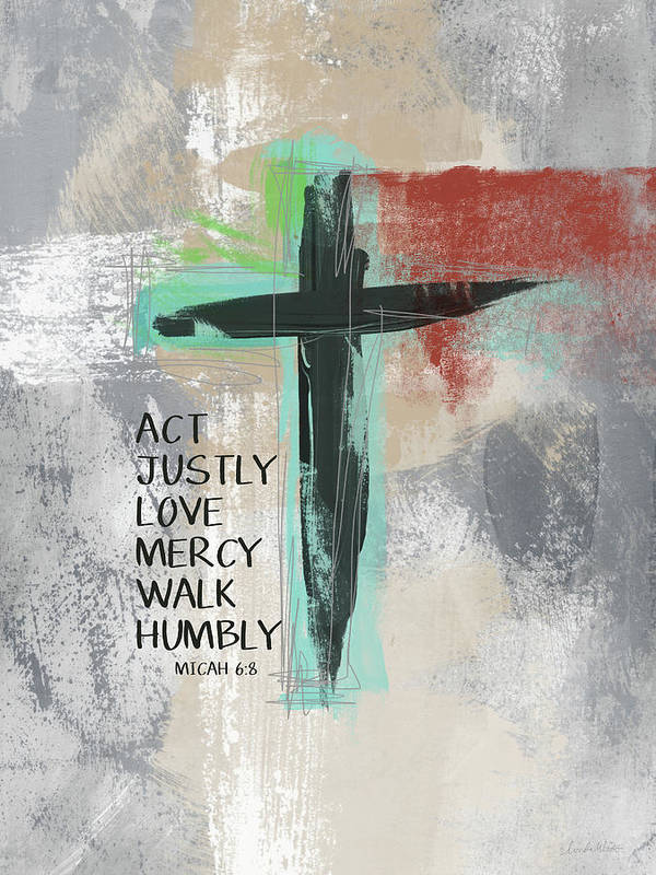 Cross Art Print featuring the mixed media Expressionist Cross Love Mercy- Art by Linda Woods by Linda Woods
