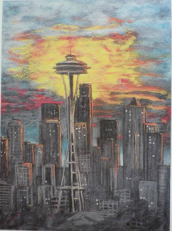 Sunset Cloudy Sky Art Print featuring the painting Eye On The Needle by Dan Bozich